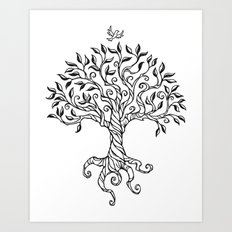 Shirley's Tree BW Art Print