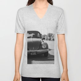 Hermosa Beach Surf Bug, Black and White Photography Print, Beach Art, South Bay Los Angeles Art Unisex V-Neck