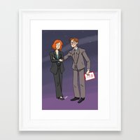 mulder Framed Art Prints featuring Scully & Mulder by Huffleclaw
