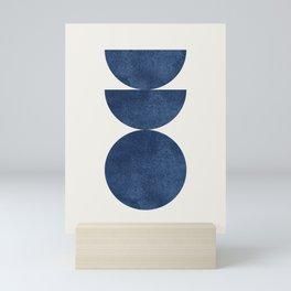 Woodblock navy blue Mid century modern Mini Art Print
