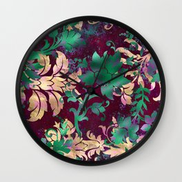 Jungle Floral Neck Gator Tan Green and Burgandy Jungle Flowers Wall Clock