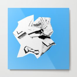Blue Glitch Scrunch Metal Print