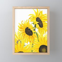 sunflower watercolor 2017 Framed Mini Art Print