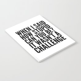 When I Said How Stupid Can You Be? It Wasn't a Challenge Notebook
