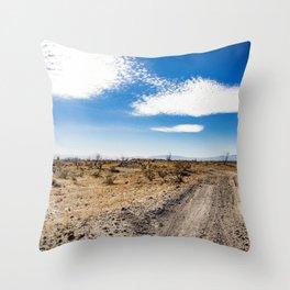 Lonely Dirt Road Cutting through the Barren Desert in the Anza Borrego Desert State Park Throw Pillow