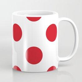 Large Polka Dots - Fire Engine Red on White Coffee Mug