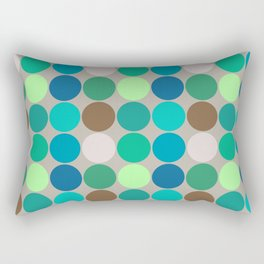 Mid-Century Giant Dots, Jade, Blue and Taupe Rectangular Pillow