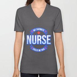 Nurse Dad print | Male Gift Tee Health Care Nursery Unisex V-Neck