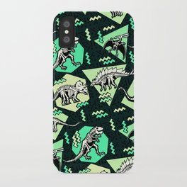 90's Dinosaur Skeleton Neon Pattern iPhone Case
