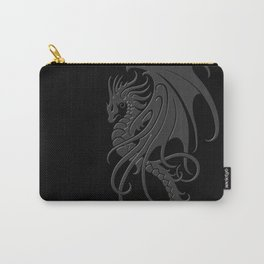 Flying Gray and Black Tribal Dragon Carry-All Pouch