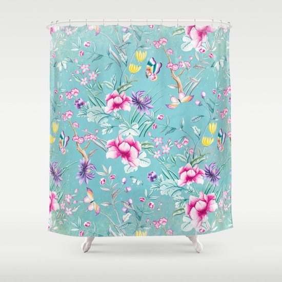 Pastel Teal Vintage Roses And Butterflies Pattern Shower Curtain