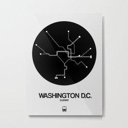 Washington D.C. Black Subway Map Metal Print