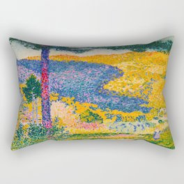 Henri-Edmond Cross Neo-Impressionism Pointillism Valley with Fir Shade on the Mountain Oil Painting Rectangular Pillow