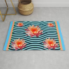 Peach Color Water Lily Water Garden Rug