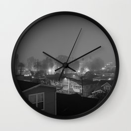 Foggy Night In Echopark Wall Clock
