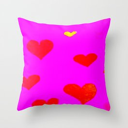 Red and Pink Falling Hearts Throw Pillow