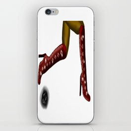 Red Boots, Black Legs Running, White Background by Mgyver B2 iPhone Skin