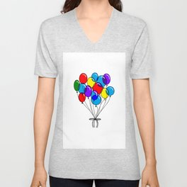 A Bouquet of Multi-Colored Balloons tied in a Bow Unisex V-Neck