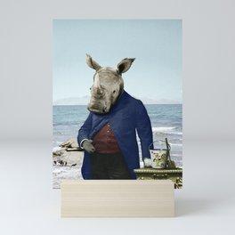 Mr. Rhino's Day at the Beach Mini Art Print
