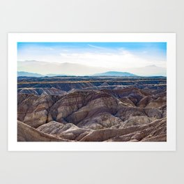 Looking across the Borrego Badlands Canyons towards the Hazy Mountainsin the Anza Borrego Desert Art Print