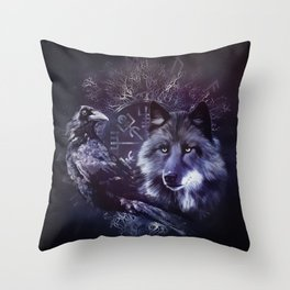 Raven and Wolf - Vegvisir and Tree of life Throw Pillow