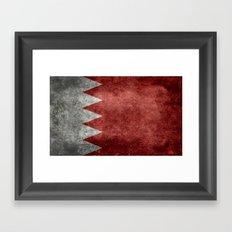 The flag of the Kingdom of Bahrain - Vintage version Framed Art Print