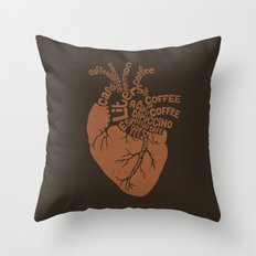 Coffee Lover Heart Throw Pillow