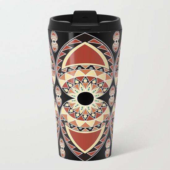 Ethnic petals. Pattern. Metal Travel Mug