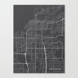 Anchorage Map, Alaska USA - Charcoal Portrait Canvas Print