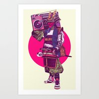 samurai Art Prints featuring Hip-Hop Samurai by Mike Wrobel