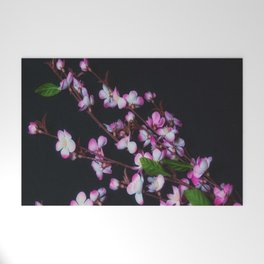 Red and White Flowers on Black Welcome Mat