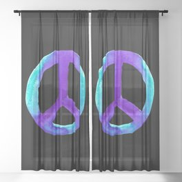 Turquoise Purple Peace Black Tiedye Sheer Curtain