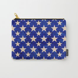Gold stars on a dark blue background. Carry-All Pouch