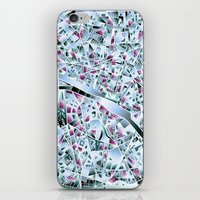 paris map iPhone & iPod Skins featuring Paris map by Bekim ART