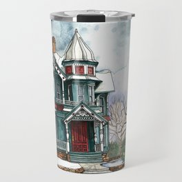 Blue House on a Grey Day Travel Mug