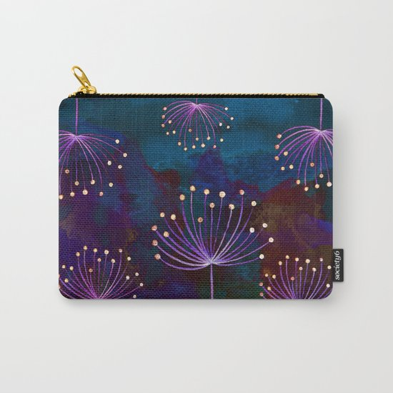 luminous dandelions on petrol blue Carry-All Pouch