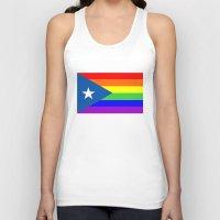 puerto rico Tank Tops featuring puerto rico gay people homosexual flag rainbow by tony tudor