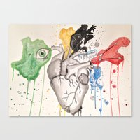 anatomical heart Canvas Prints featuring Anatomical Heart by Hannah Brownfield Camacho