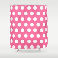 minnie mouse Shower Curtains featuring Minnie Mouse Dots | Pink by DisPrints