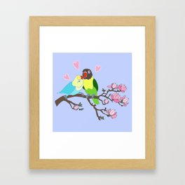 Kissing Lovebirds in magnolia tree Framed Art Print