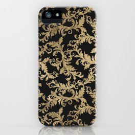 Chic vintage faux gold floral damask pattern iPhone Case