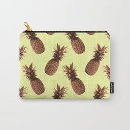 Pineapple Pattern - Tropical Pattern - Summer- Pineapple Wall Art - Brown, Beige - Minimal Carry-All Pouch