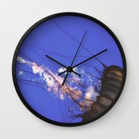 jelly fish Wall Clocks featuring Jelly Fish  by N A N A M I