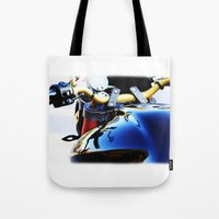 motorcycle Tote Bags featuring Motorcycle by Carlo Toffolo
