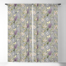 spring flowers with butterfly and beetles I Blackout Curtain