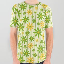 Bohemian Retro 70s Groovy Daisy Pattern with Stripes , Hand-painted in Grass Green, Golden and Ivory All Over Graphic Tee