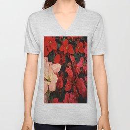 Crimson Red Poinsettia Christmas Holiday Flowers Unisex V-Neck