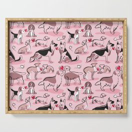 Woof endless love // pastel pink background pink hearts continuous lined pair of dog breeds Serving Tray