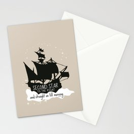 Second star to the right and straight on till morning - Peter Pan Inspired Art Print  Stationery Cards