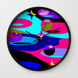 Planets and Stars in Darker Tones Wall Clock